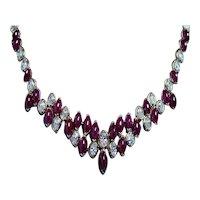 Oscar Heyman Ruby Diamond Necklace 18K Gold Platinum Certified GIA 59ct