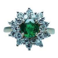 Vintage Emerald Diamond 14K Gold Halo Ring