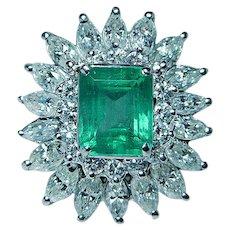 Giant Vintage Emerald Marquise Diamond Ring 14K White Gold Estate GIA $15,800 appraisal