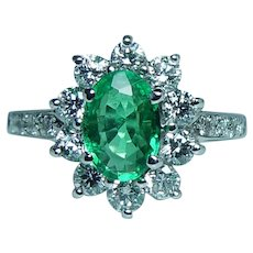 18K White Gold Colombian Emerald Diamond Ring Very Fine