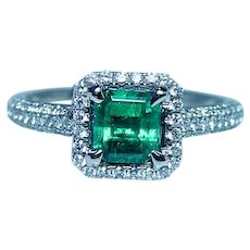 Colombian Emerald 18K White Gold Diamond Halo Ring