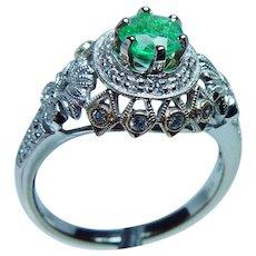 Vintage 18K White Gold Diamond Colombian Emerald Ring Estate