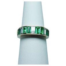 Colombian Emerald Baguette Diamond 18K Gold Anniversary Ring