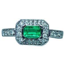 Colombian Emerald Diamond Halo Ring 14K White Gold