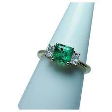 Colombian Emerald Baguette Diamond 3 stone Ring 18K Gold