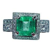 GIA 3.46ct Emerald Princess Diamond Ring 19K White Gold Vintage Estate