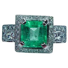 GIA 3.46ct Emerald Princess Diamond Ring 19K White Gold Vintage Estate