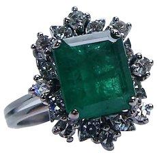 Colombian Emerald Diamond Halo Ring 18K White Gold Vintage Estate 2.9ct