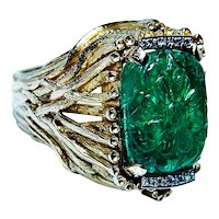 Vintage Cushion Carved Emerald 18K Gold Diamond Ring 7ct Naturalistic Heavy