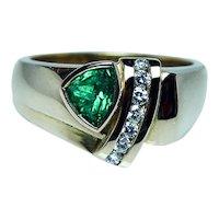 Vintage Colombian Emerald 18K Gold Diamond Heavy Ring