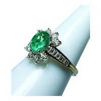 Kurt Wayne Carved Emerald Diamond Ring 18K Gold Designer Signed