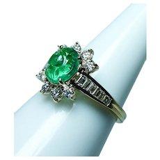 Kurt Wayne Carved Emerald Diamond Ring 18K Gold Designer Signed