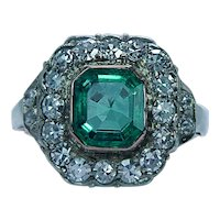 Edwardian 14K Rose Gold Colombian Emerald Diamond Ring