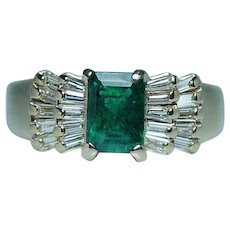 Emerald Baguette Diamond Ring 14K Gold