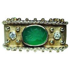 Vintage Etruscan Tagliamonte Diamond Ring 14K Gold HEAVY Emerald Color Estate