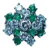 Vintage 2.42ct Emerald Diamond Cocktail Ring 14K White Gold Large Estate
