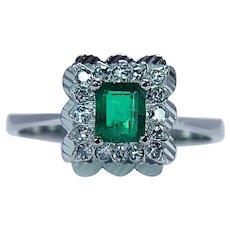 Emerald Diamond Ring 18K White Gold Vintage Estate Size 8