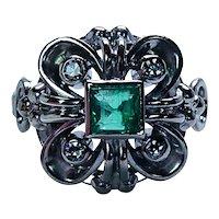 Colombian Emerald Diamond Ring 18K White Gold Vintage Estate