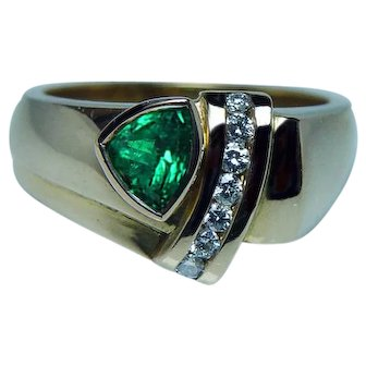 Colombian Emerald 18K Gold Diamond Heavy Ring Size 8