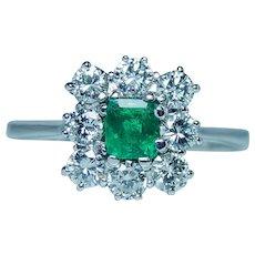 Vintage 18K White Gold Colombian Emerald Diamond Halo Ring Estate