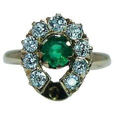 Antique Edwardian Old European Diamond Emerald Horseshoe Ring 14K Gold 1850s