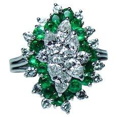 Vintage Platinum Emerald Pear Diamond Ring  The BEST!