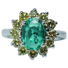 Vintage Emerald Fancy Yellow Canary Diamond Ring 14K White Gold Estate GIA Certified