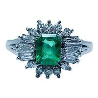 Vintage Colombian Emerald Baguette Diamond Platinum Ring Estate