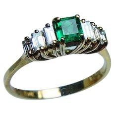 Designer MAG Colombian Emerald 18K Gold Baguette Diamond Ring Vintage