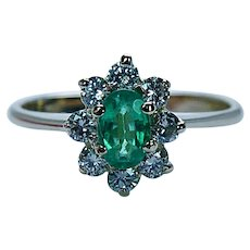Colombian Emerald Diamond Halo Ring 18K Gold Vintage Estate