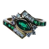 Vintage 18K Gold Asscher Diamond Colombian Emerald Ring Designer Signed