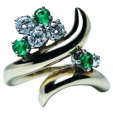 McTeigue 18K Gold Platinum Diamond Emerald Ring Designer