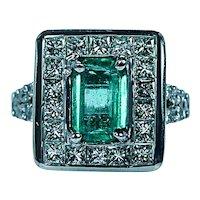 Vintage Colombian Emerald Princess Diamond Halo Ring 18K White Gold Estate 3.6ct