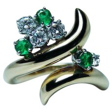 Vintage 18K Gold Platinum Diamond Emerald Ring Designer Signed McTeigue
