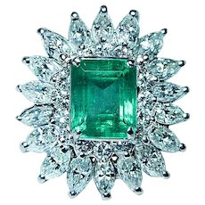 Giant Emerald 2.96ct Marquise Diamond Ring 14K White Gold GIA $15,800 cert