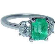 Vintage Colombian Emerald Half Moon Diamond Platinum 3 stone Ring Estate GIA Cert