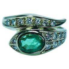 Vintage 18K Gold Colombian Emerald Diamond Serpent Ring Estate