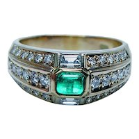 Vintage 18K Gold Diamond Colombian Emerald Ring Estate