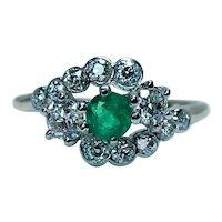 Vintage Emerald Old European Diamond Ring 18K Gold Estate