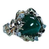 Vintage Sugarloaf Emerald Diamond Modernist Ring 14K Gold Estate