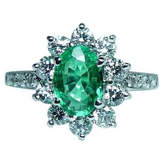 Vintage Colombian Emerald Diamond  18K White Gold Ring Very Fine