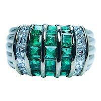 Vintage 18K Gold Asscher Diamond Colombian Emerald Ring Designer Signed M Estate