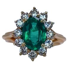 Neiman Marcus Colombian Emerald Diamond Halo Ring 18K Gold Estate