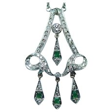 Vintage Emerald Diamond 14K Gold Chandelier Necklace Estate