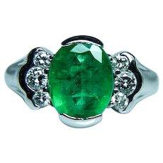 Vintage 2.2ct Emerald Diamond 14K White Gold Ring Estate