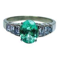 JB Star Designer Colombian Emerald Diamond Baguette Ring 18K Gold Vintage Estate