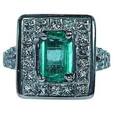 Vintage Colombian Emerald Princess Diamond Halo Ring 18K White Gold Estate 3.6ct