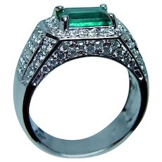 Vintage Colombian Emerald Diamond Ring 14K White Gold Heavy Estate
