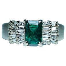 Estate Emerald Baguette Diamond Ring 14K Gold Vintage