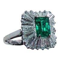 Certified Colombian Emerald Diamond Ballerina Ring 18K White Gold Arthritic
